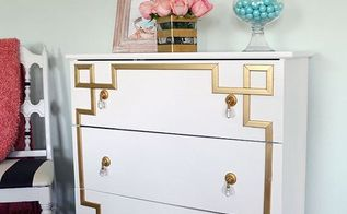 ikea tarva dresser hack gold greek key, painted furniture, woodworking projects