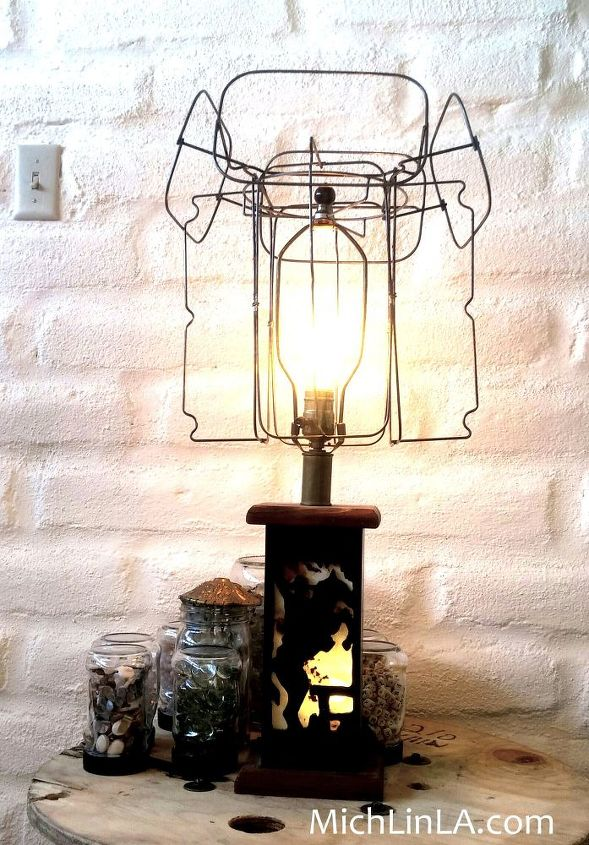 industrial lamp makeover, crafts, lighting, repurposing upcycling