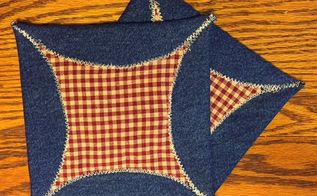 square potholder made from old jeans, crafts, how to, repurposing upcycling