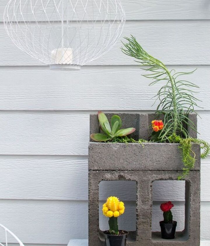 s 20 low maintenance container gardens for beginners, container gardening, gardening, Set a few cacti in a cinder block