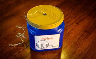twine holder from coffee container, how to, repurposing upcycling, storage ideas