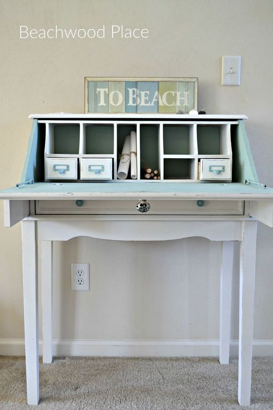 Coastal Style Casual Desk Makeover Chalk Paint Painted Furniture