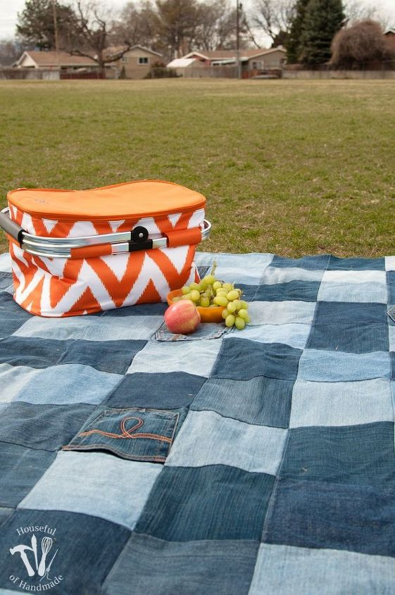 make an awesome water resistant picnic blanket from old jeans, outdoor living, repurposing upcycling, reupholster