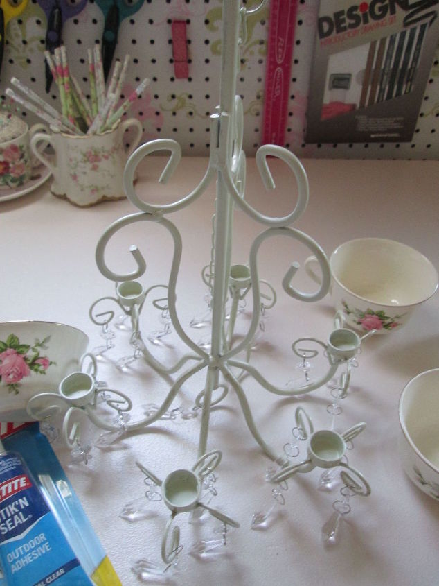outdoor candle chandelier turned coffee cup planter, container gardening, gardening, repurposing upcycling, shabby chic