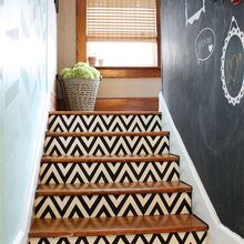 s 15 bold ways to redo your outdated staircase without remodeling, home improvement, stairs, Paint the risers with bold chevron