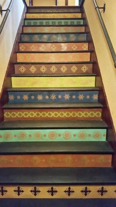 s 15 bold ways to redo your outdated staircase without remodeling, home improvement, stairs, Stencil a set of plywood risers