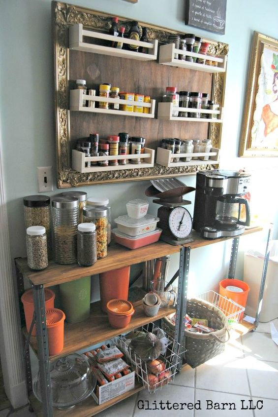 s 10 borderline brilliant ways to store spices and save counter space, countertops, kitchen cabinets, storage ideas, Build a giant frame of racks for an open wall
