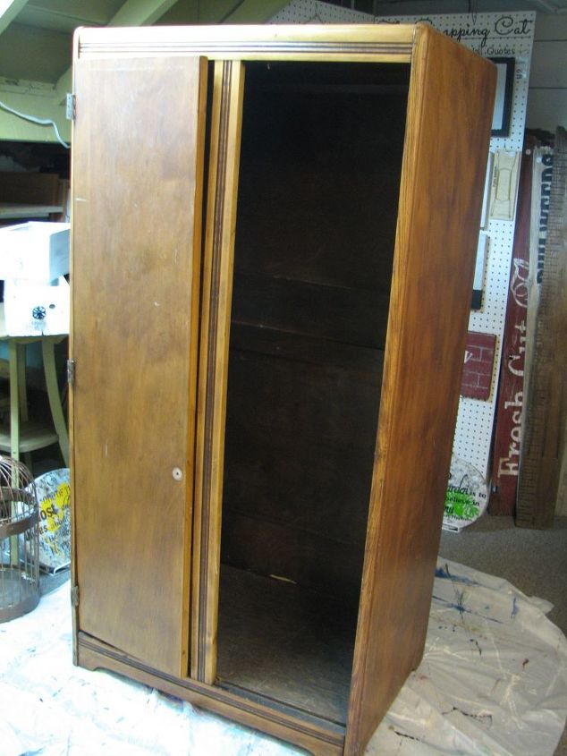 armoire turned craft chest, craft rooms, crafts, painted furniture, repurposing upcycling