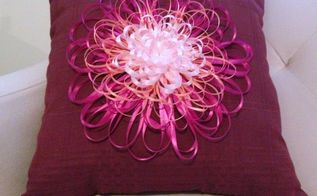 ribbon flower embellished napkin pillow, crafts