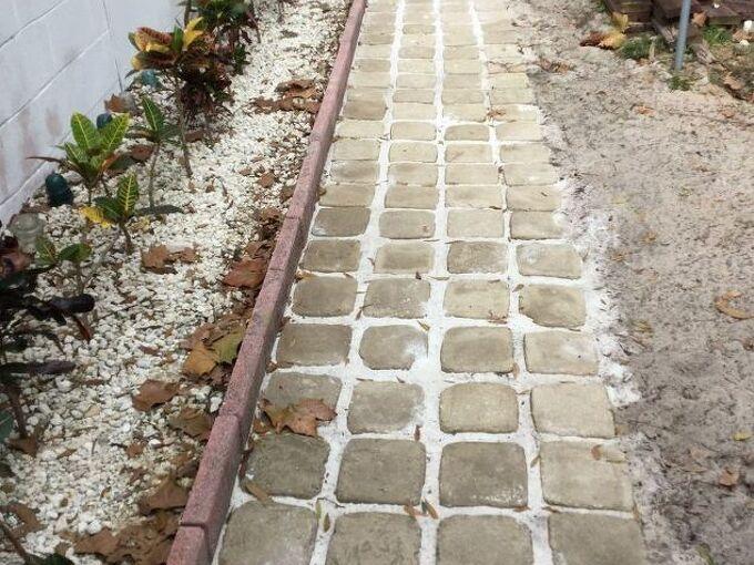 how we made stepping stone walkway from ice cream buckets, concrete masonry, diy, repurposing upcycling