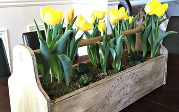 vintage toolbox centerpiece, container gardening, diy, gardening, woodworking projects
