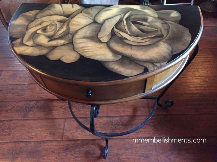 s 15 incredible furniture flips where the stain stole the show, painted furniture, This table with huge unfurling roses