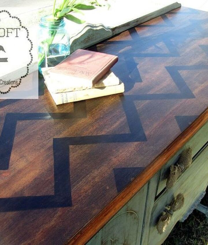 s 15 incredible furniture flips where the stain stole the show, painted furniture, This dark chevron topped beauty