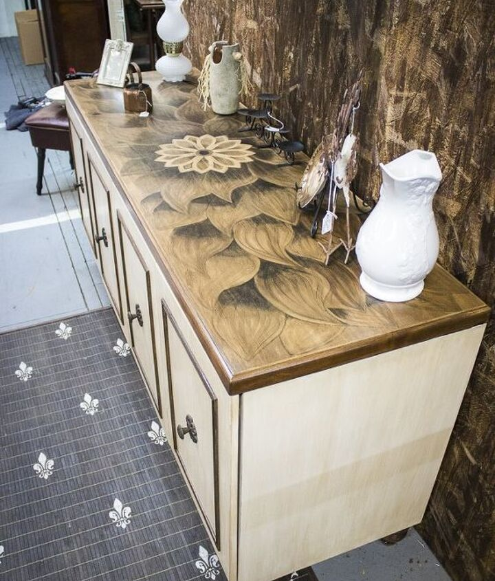 s 15 incredible furniture flips where the stain stole the show, painted furniture, This powerful petal packed tabletop
