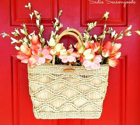 Straw Tote Spring Wreath Door Decor On The Cheap, Crafts, Repurposing  Upcycling, Seasonal