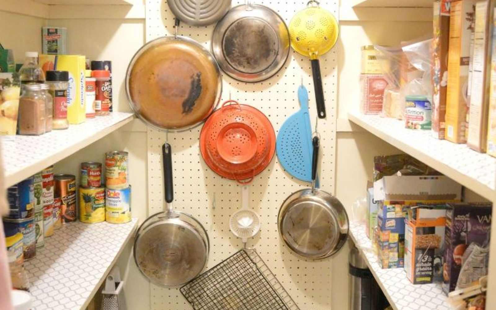 s 15 ways to organize every messy nook with pegboard, organizing, woodworking projects, Put some in your pantry to hang bulky pots
