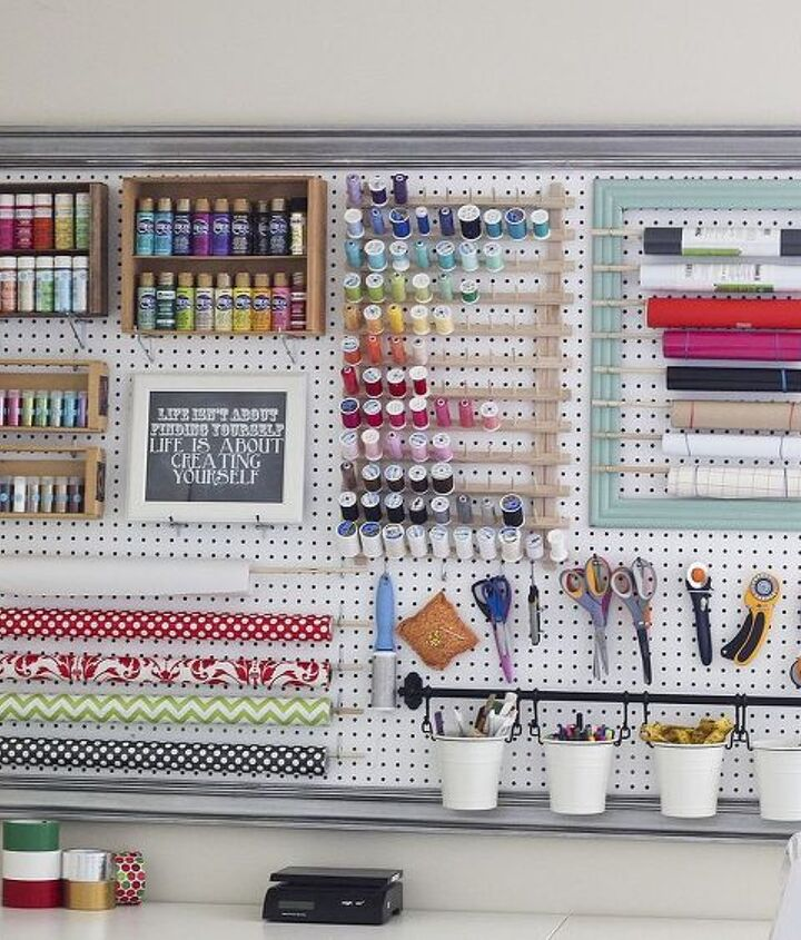 s 15 ways to organize every messy nook with pegboard, organizing, woodworking projects, Use it in a craft room to organize everything