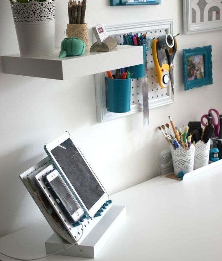 s 15 ways to organize every messy nook with pegboard, organizing, woodworking projects, Or hide messy cords under your office desk