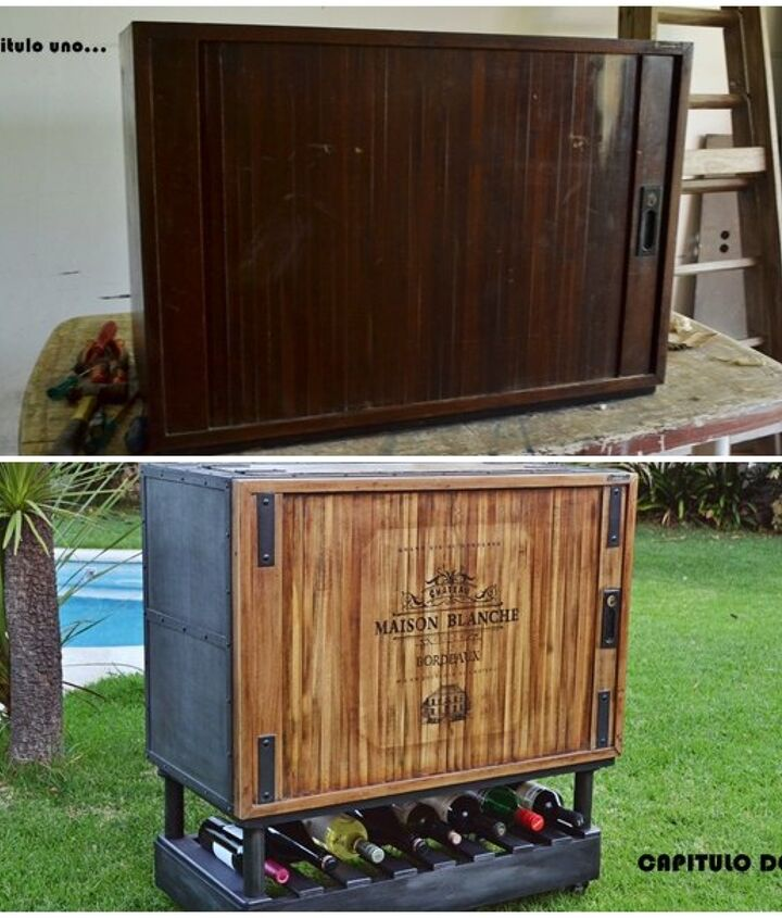 from antique storage cabinet to modern rolling bar, diy, painted furniture, repurposing upcycling, storage ideas