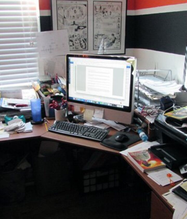 organizing the desk of disaster, cleaning tips, home office, organizing