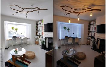 diy tree branch chandelier, lighting, repurposing upcycling