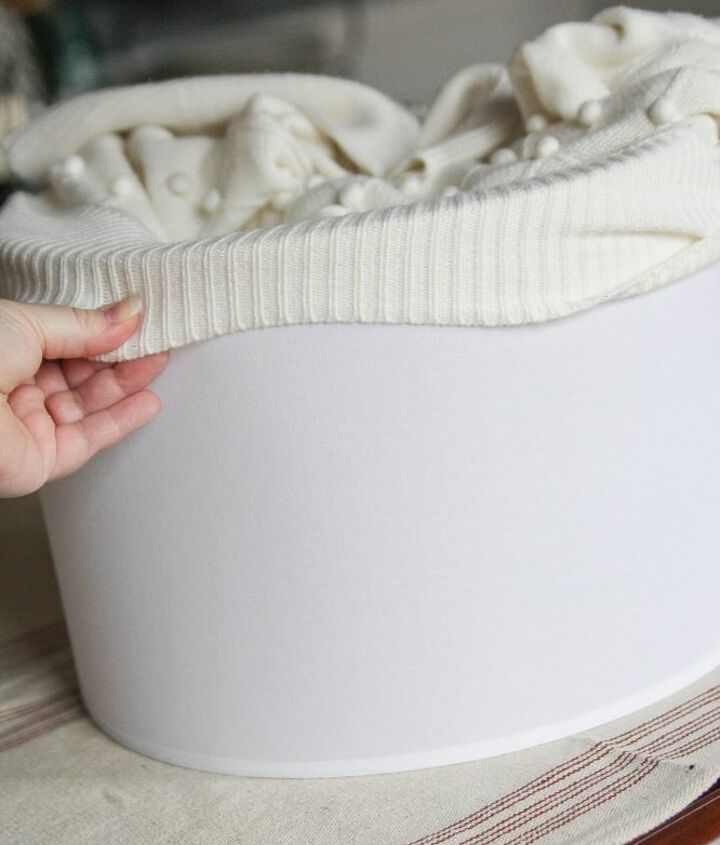 how to cozy up a lampshade with a thrift store sweater keepingcozy, home decor, lighting