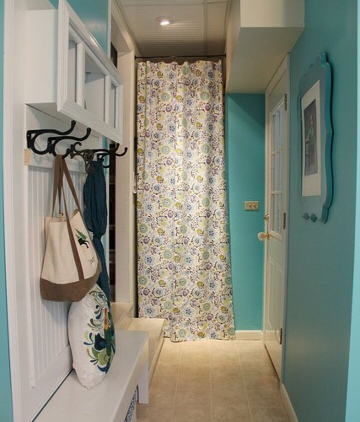 how to make a pretty no sew no hammer no drill curtain in minutes, home decor, reupholster