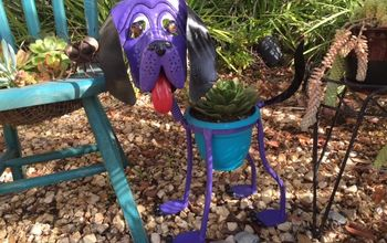 garden art doggie gets a new look, container gardening, gardening, painted furniture
