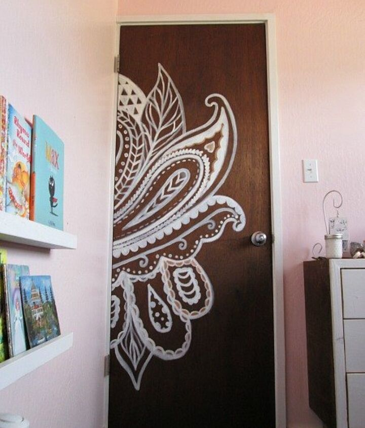 lace inspired door, doors, painting