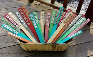 scrabble tile plant markers, chalk paint, crafts, gardening, repurposing upcycling