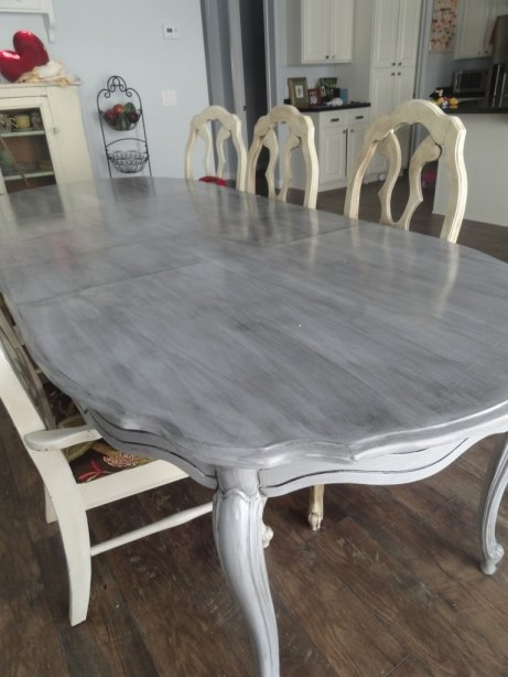 s 13 gorgeous ways to bring your worn kitchen table back to life, kitchen design, painted furniture, Paint it a worn weathered grey