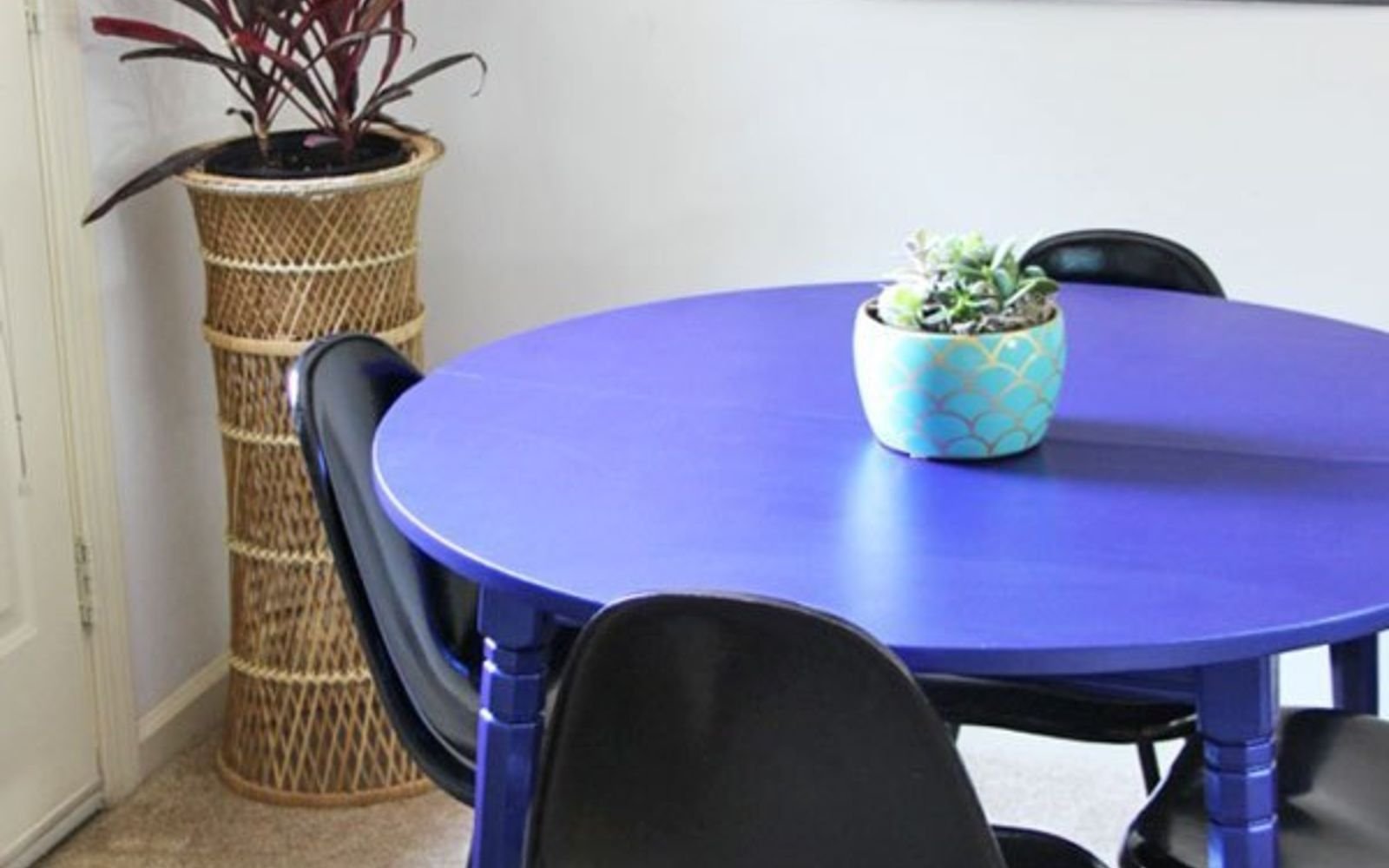 s 13 gorgeous ways to bring your worn kitchen table back to life, kitchen design, painted furniture, Paint the whole thing one solid bold coat