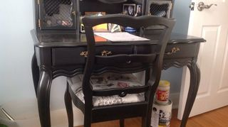 , This is the desk I did sanded primed with Zinnzer s and painted with The Black Pearl