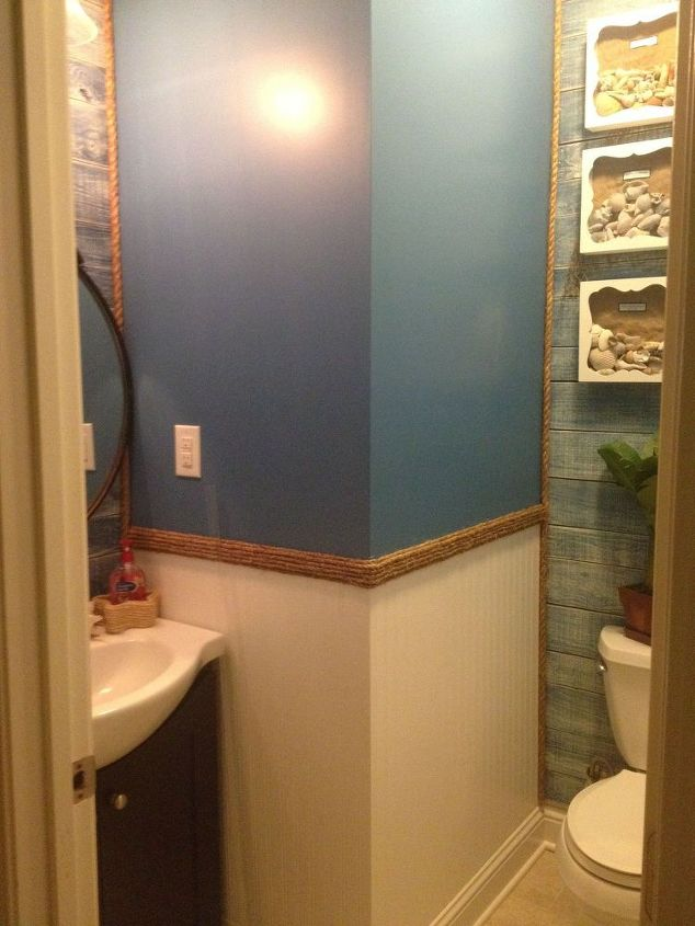 i first solo project guest bathroom blah to beachy, bathroom ideas, home maintenance repairs, paint colors, painting