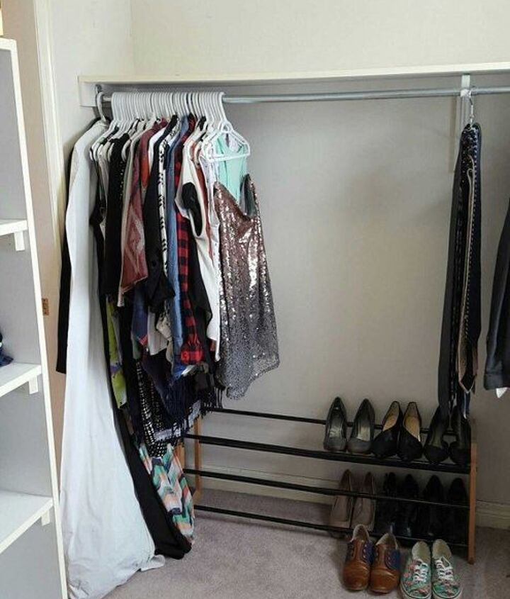 turn a messy walk in into an organized closet and dressing room, bedroom ideas, closet, organizing, storage ideas