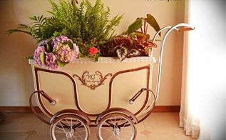 antique baby carriage makeover, container gardening, gardening, painted furniture, repurposing upcycling