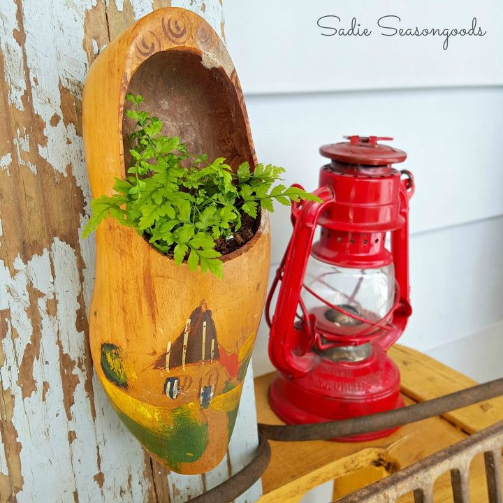 vintage wooden shoe spring planters, container gardening, crafts, gardening, repurposing upcycling
