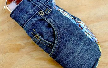 Upcycled Jeans Sunglasses Case With Handy Pocket