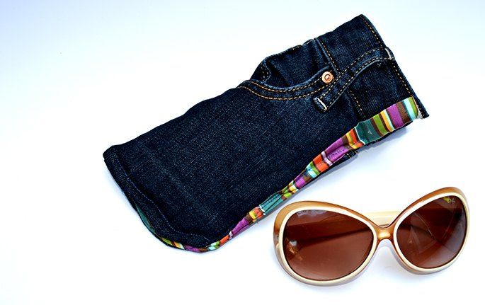 upcycled jeans sunglasses case with handy pocket, crafts, how to, repurposing upcycling