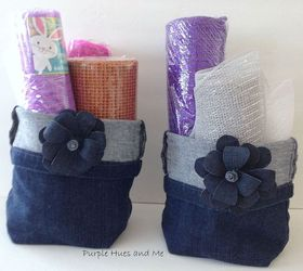 s 19 gorgeous reasons to dig your old jeans out of the closet, crafts, repurposing upcycling, Fold jean legs into storage baskets