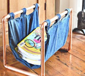 s 19 gorgeous reasons to dig your old jeans out of the closet, crafts, repurposing upcycling, Use jeans copper pipes to hold magazines