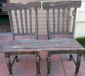 Delightful Patio Bench Made From Chairs, Outdoor Furniture, Painted Furniture,  Repurposing Upcycling, Woodworking