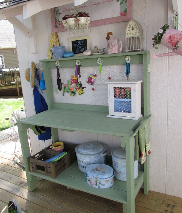 awaiting potting bench table addition, diy, gardening, organizing, outdoor furniture, shelving ideas, storage ideas, woodworking projects