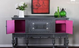 a gray buffet with a surprise on the inside, how to, painted furniture