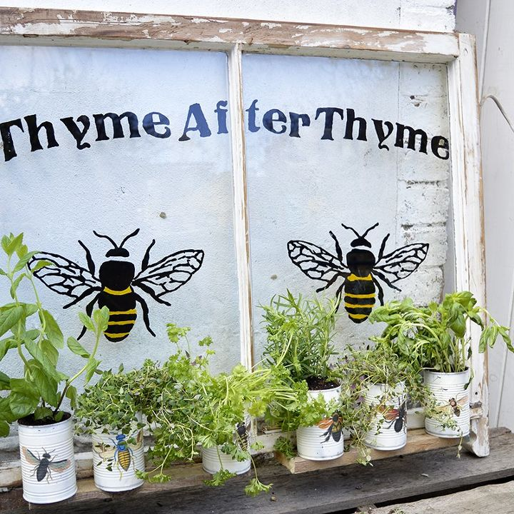 upcycled window herb planter, container gardening, gardening, outdoor living, repurposing upcycling, windows