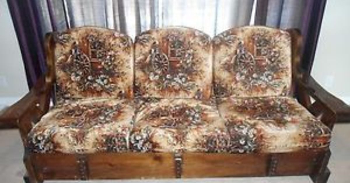 1970s Wood Furniture ~ How to repurpose a sofa into yard or patio set