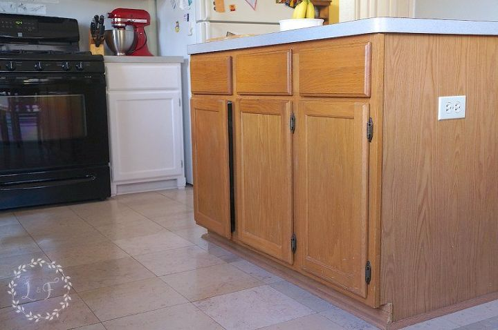 how to update and builder grade kitchen island with trim and paint, kitchen design, kitchen island, painted furniture