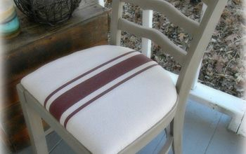 diy painted canvas drop cloth chair, chalk paint, dining room ideas, painted furniture, reupholster