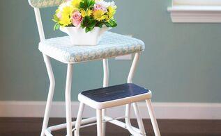 vintage 60 s step stool gets a makeover, painted furniture, reupholster