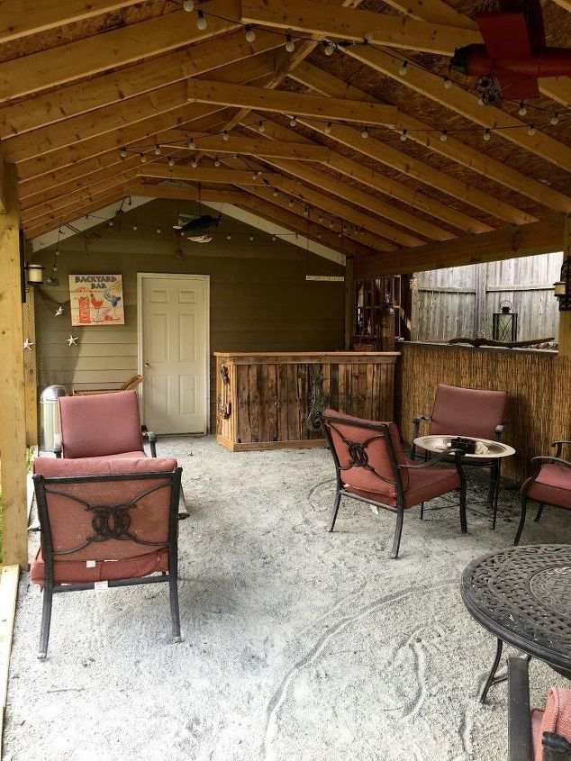 backyard tiki bar, diy, outdoor furniture, outdoor living - She Wheels 4 Tons Of Stone Dust Into Her Yard. 2 Weeks Later? This